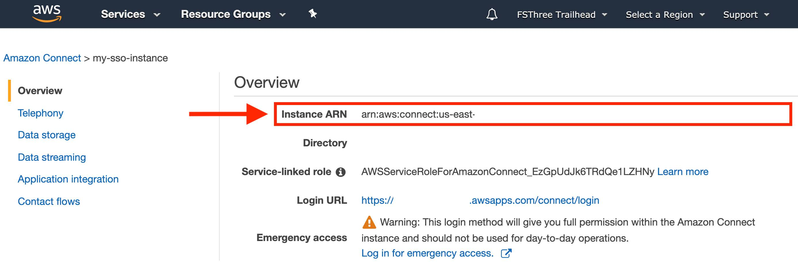 Amazon Connect instance overview with Instance ARN highlighted by a red box