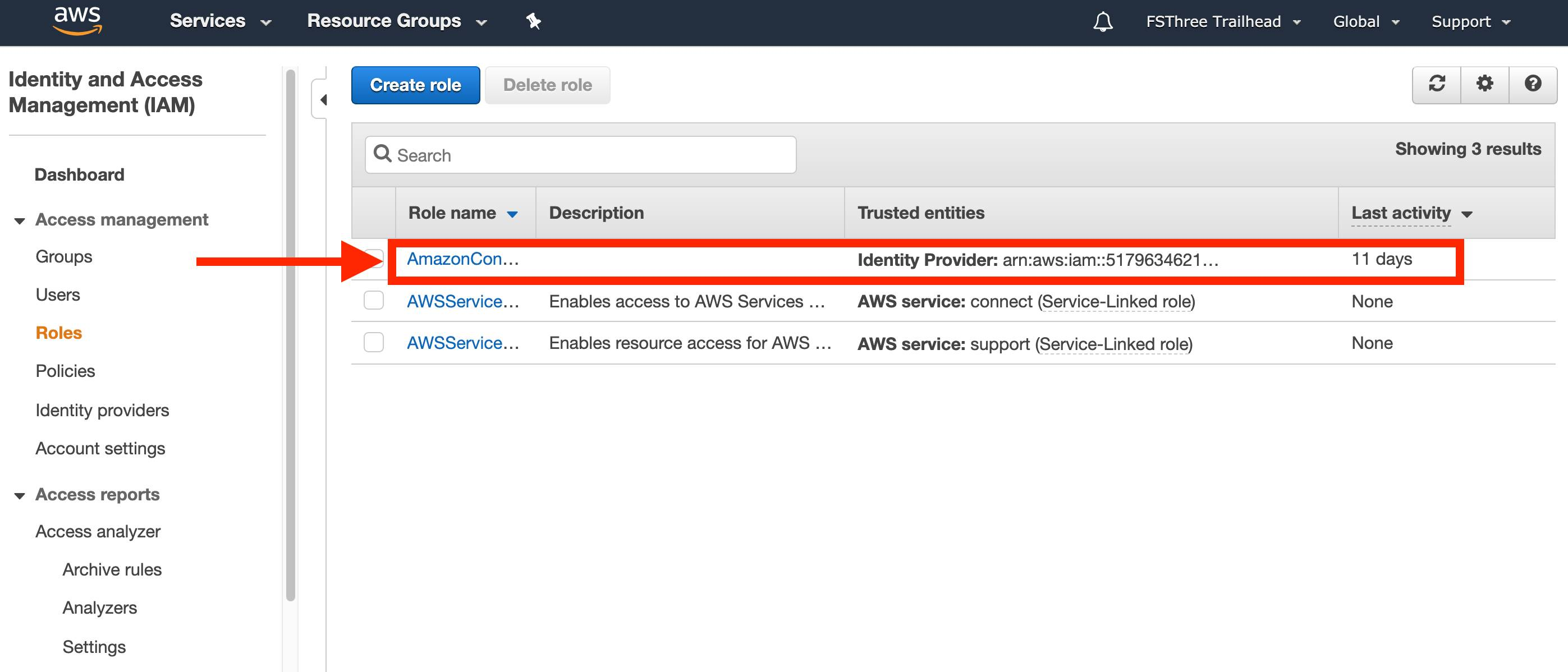 Roles overview with AmazonConnectSSO_SFDC highlighted by a red box and arrow