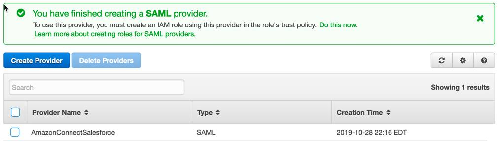 Success message You have finished creating a SAML provider