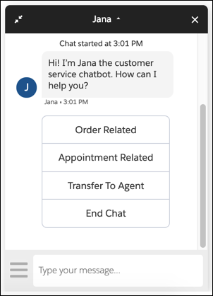 Jana bot showing greeting and options.