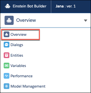 Overview highlighted in the Bot Builder dropdown.