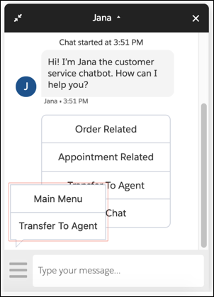Jana bot with the three lines icon highlighted and Transfer to Agent and Main Menu appearing as hover text.
