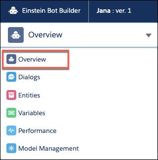 L'option Overview (Vue d'ensemble) mise en évidence dans la liste déroulante Bot Builder (Générateur de robot).