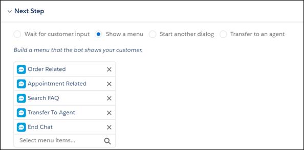 La section Next Step (Étape suivante) du générateur de robot Einstein affichant les nouvelles options de menu.