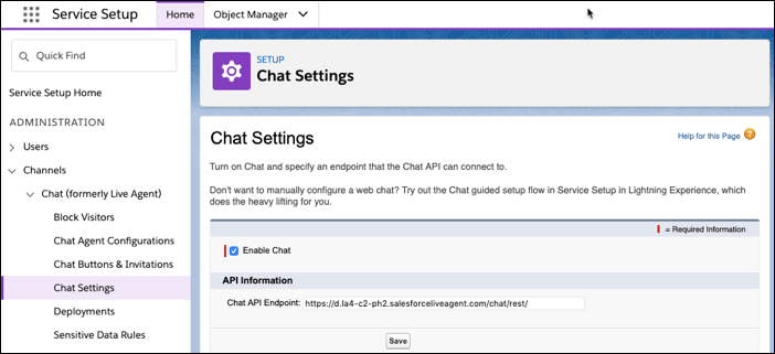 The Chat API Endpoint field on the Chat Settings page.