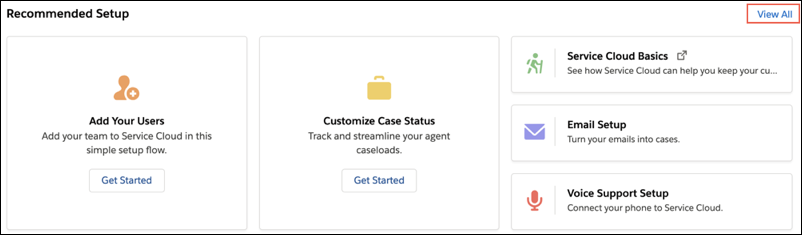 'Recommended Setup (Empfohlenes Setup)' auf der Startseite von Service-Setup