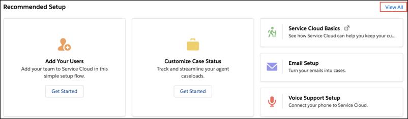 Configuração recomendada na página inicial da configuração de serviço