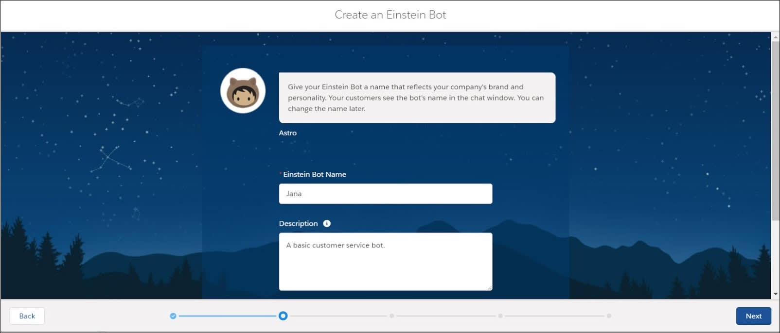 The second page of the Create an Einstein Bot setup wizard.