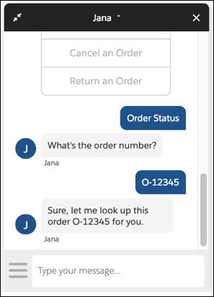 Bot Jana mostrando o status do pedido O-12345