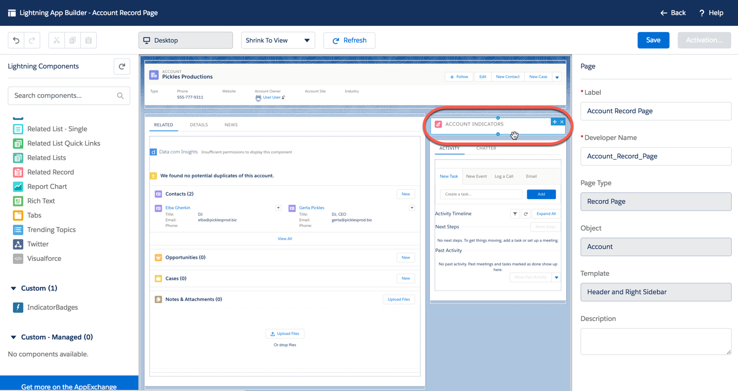 Account record page in Lightning App Builder