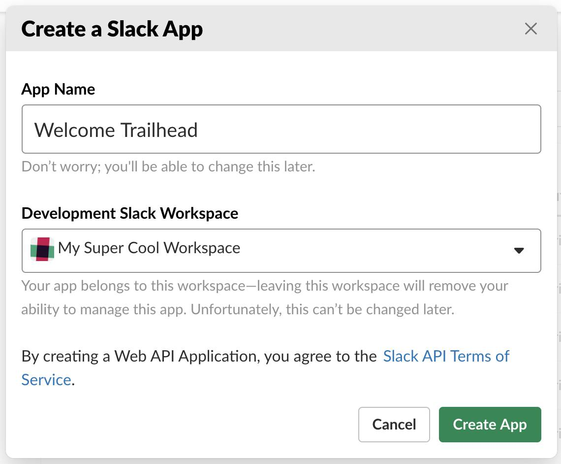 In the Create a Slack App input screen, you can name your Slack App, identify the workspace, and ultimately commit the Slack App for creation.