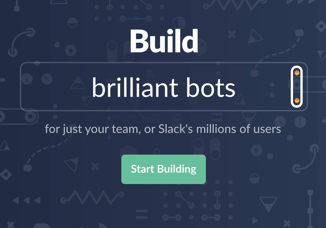 The Start Building button on the Slack API site.