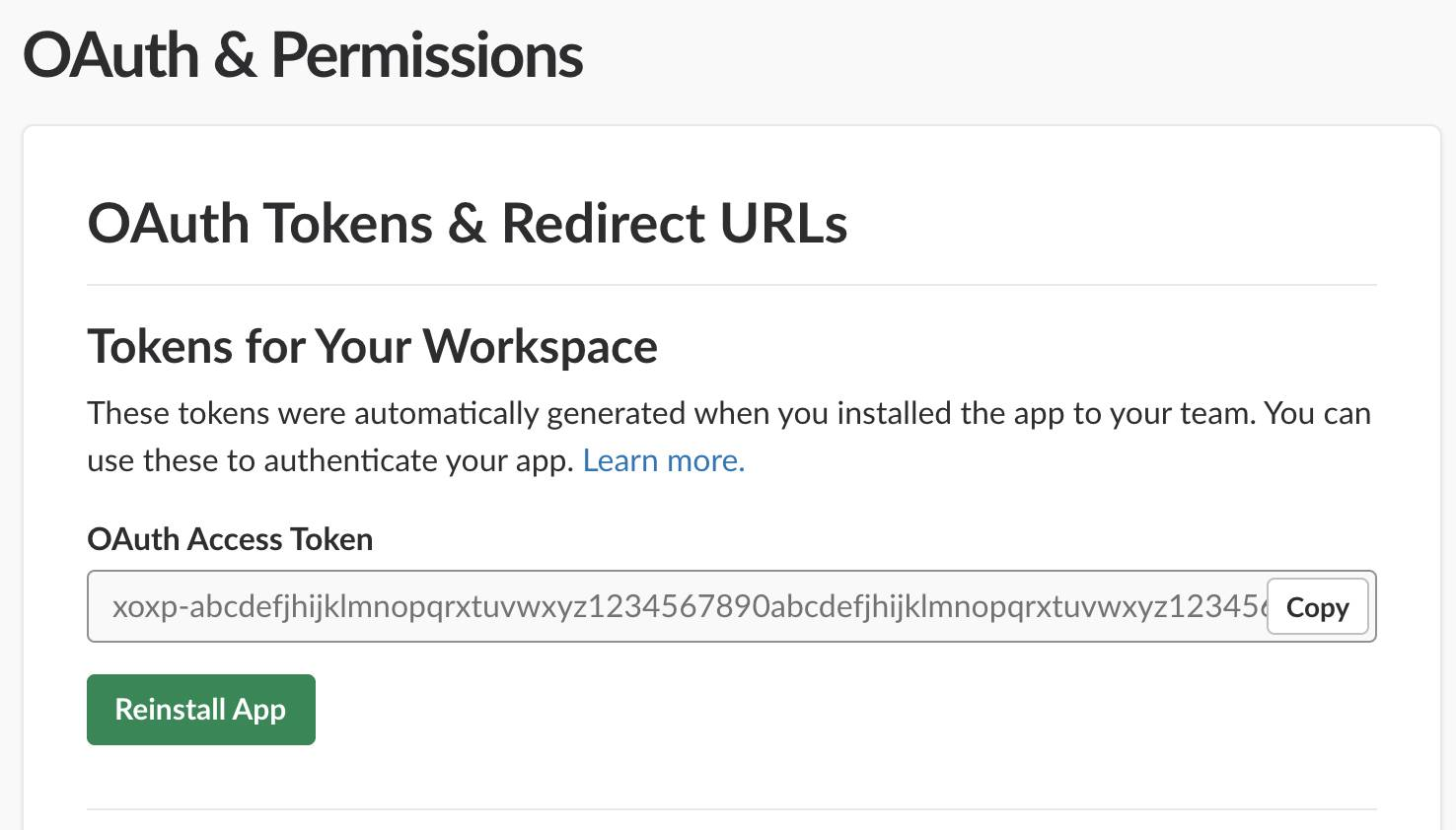 The Tokens for Your Workspace section enables you to copy the OAuth Access Token with a click.