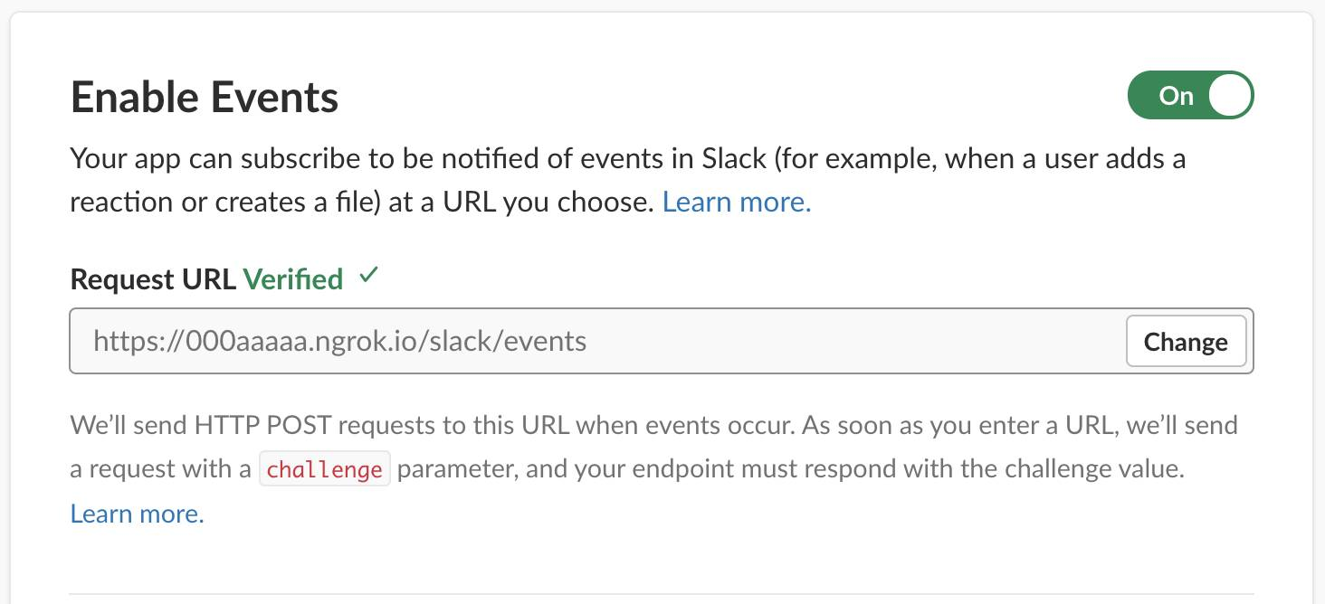 By entering your server URL appended with /slack/events, you enable Slack to send notifications to your Slack App.