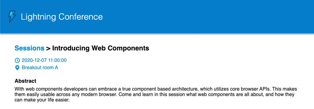 View of the Session Details for Introducing Web Components