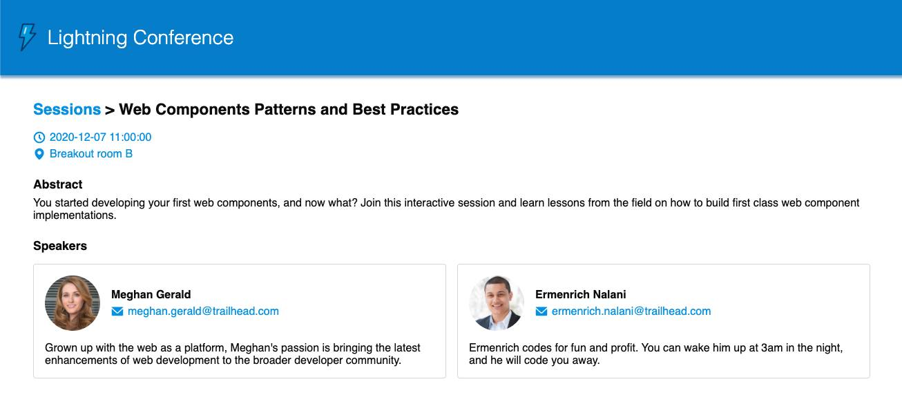 View of the Session Details for Web Components Patterns and Best Practices with extra cards for each session speaker