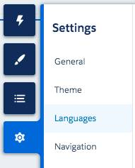 Settings panel with Languages highlighted