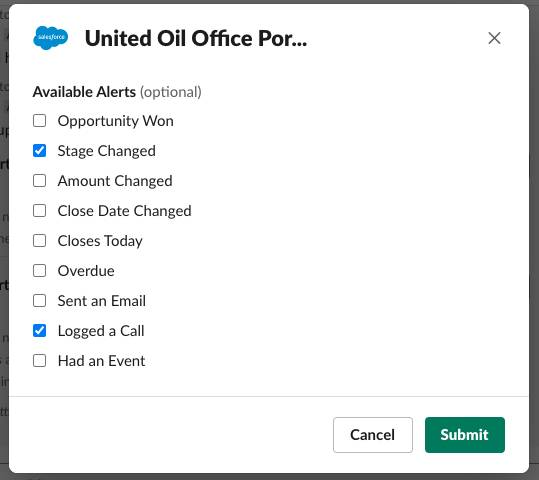 United Oil alert options with boxes checked for Stage Changed and Logged a Call