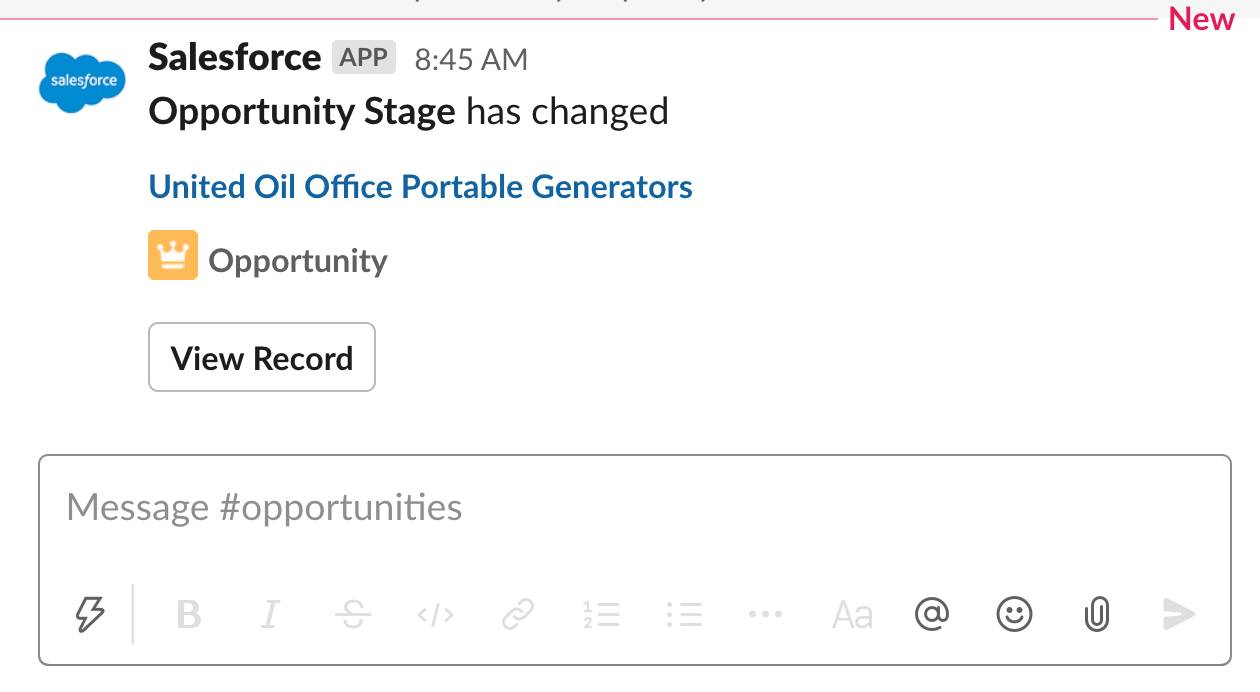 Salesforce App alert of the opportunity stage change in the # opportunities channel