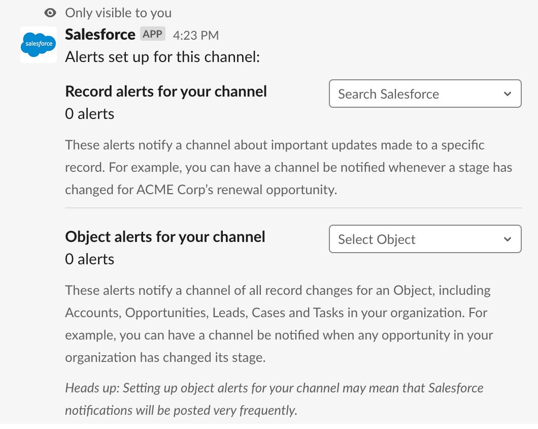 Alert setup prompt with options to create record and object level alerts
