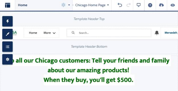 Page variation with message for Chicago users