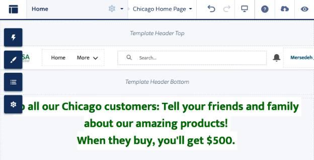 Chicago ユーザに向けたメッセージを含むページバリエーション