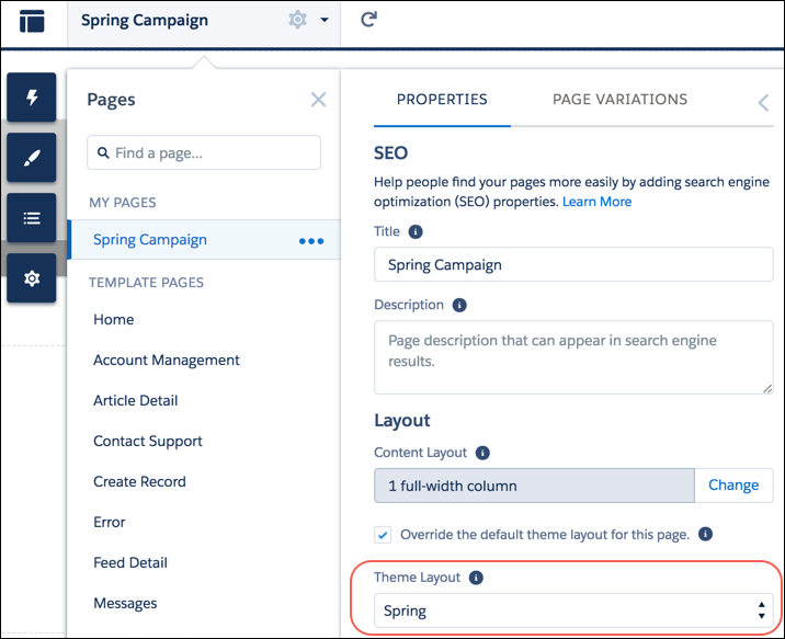 Apply Spring theme layout type in page's properties.