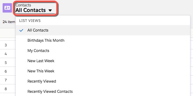 All Contacts list view