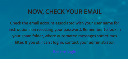 Message telling people to check their email