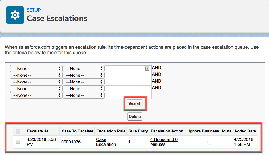 Case Escalation page showing the Search button and a recently added case.