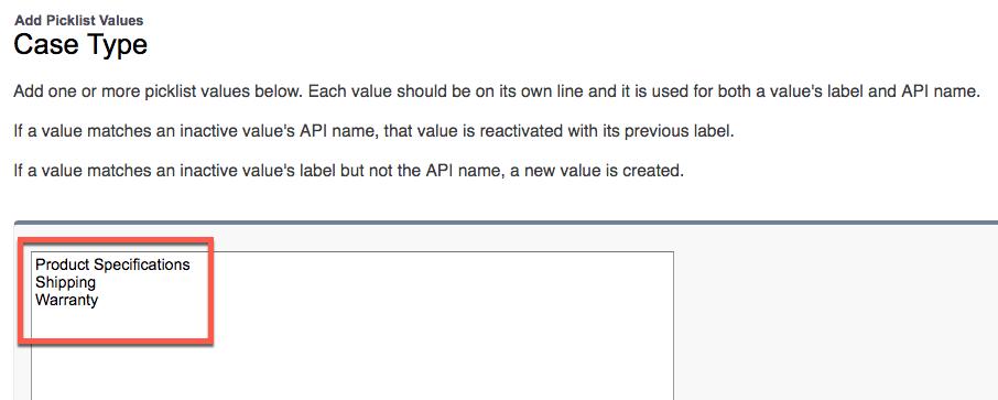 入力項目に追加された新しい選択リスト値が強調表示されている [Case Type (ケース種別)] 画面
