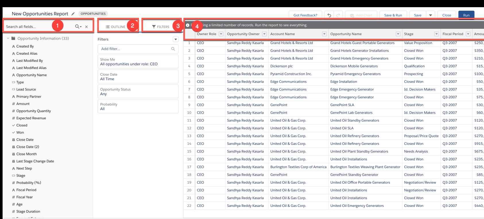 The Lightning Report Builder interface.