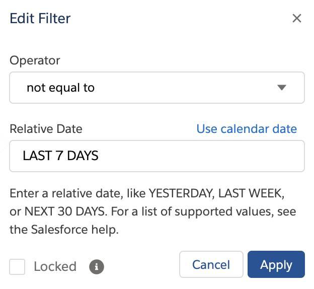 Relative Date Filter