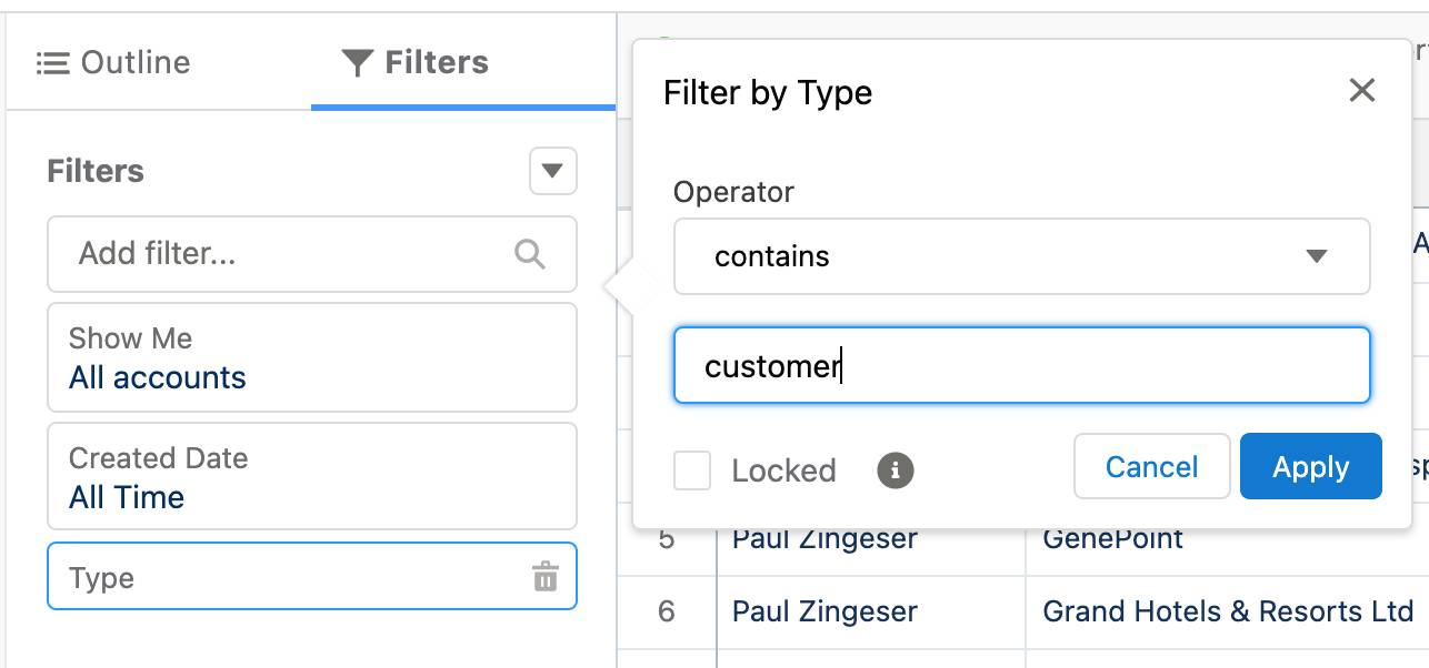 Report filter logic setup