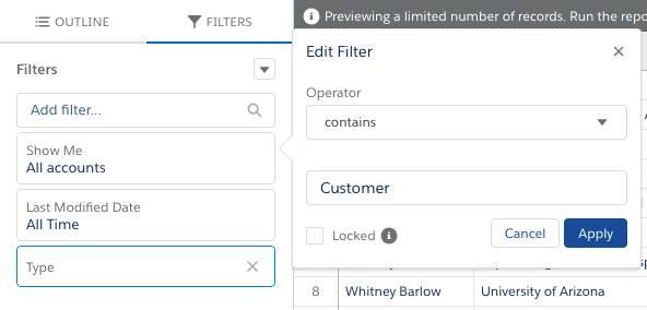 Configuração da lógica de filtro do relatório