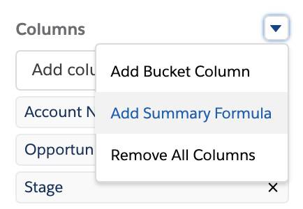 Add Summary Formula option