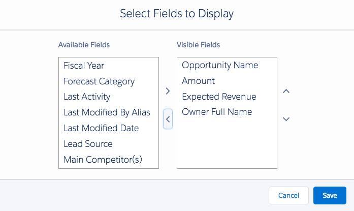 [Available Fields (選択可能な項目)] リストのスクリーンショット