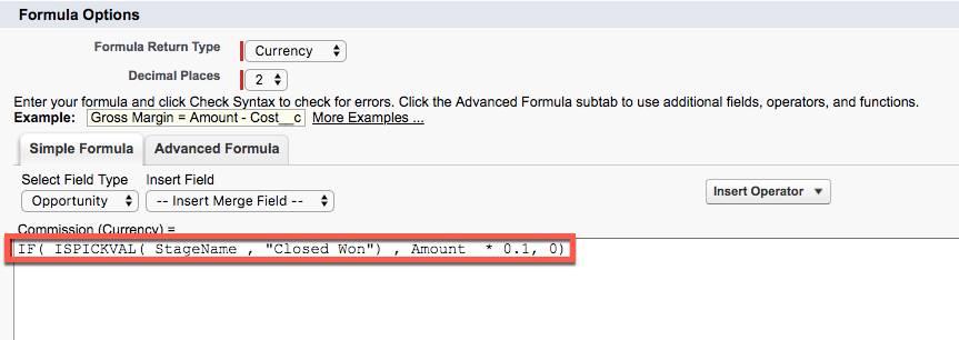修正された [Commission (手数料)] の数式が表示された [Advanced Formula (高度な数式)] タブ。