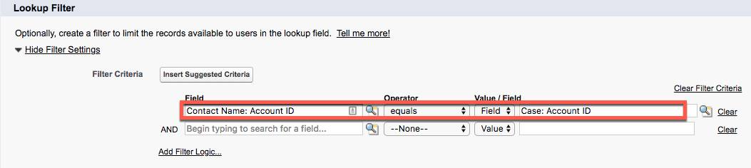Lookup Filter showing Field, Operator, and Value/Field filled in for the new Lookup Relationship on the Case object.