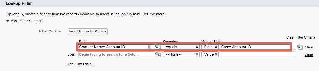 [Case (ケース)] オブジェクトの新しい [Lookup Relationship (参照関係)] の [Field (項目)]、[Operator (演算子)]、[Value/Field (値/項目)] が入力されている [Lookup Filter (ルックアップ検索条件)]