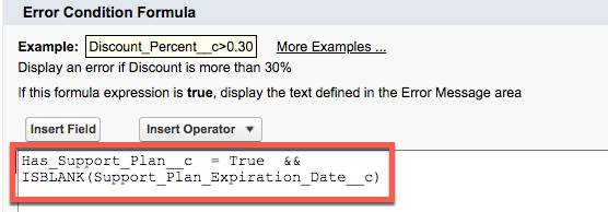 Error Condition Formula screen showing Support plan expiration date validation rule formula.