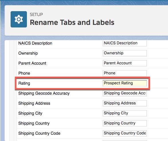 Pantalla Rename Tabs and Labels (Cambiar nombre de fichas y etiquetas) mostrando el nombre de campo Rating (Valoración) cambiado a Prospect Rating (Valoración de cliente potencial).