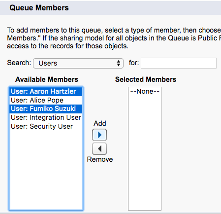 Screenshot of adding users to the queue.