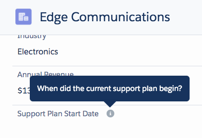 Closeup of the Edge Commuications record detail, showing the help icon text for the Support Plan Start Date field