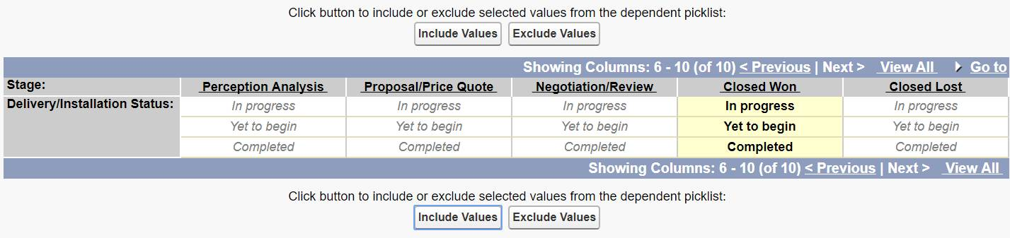 Screenshot of the page used to include or exclude selected values from a dependent picklist