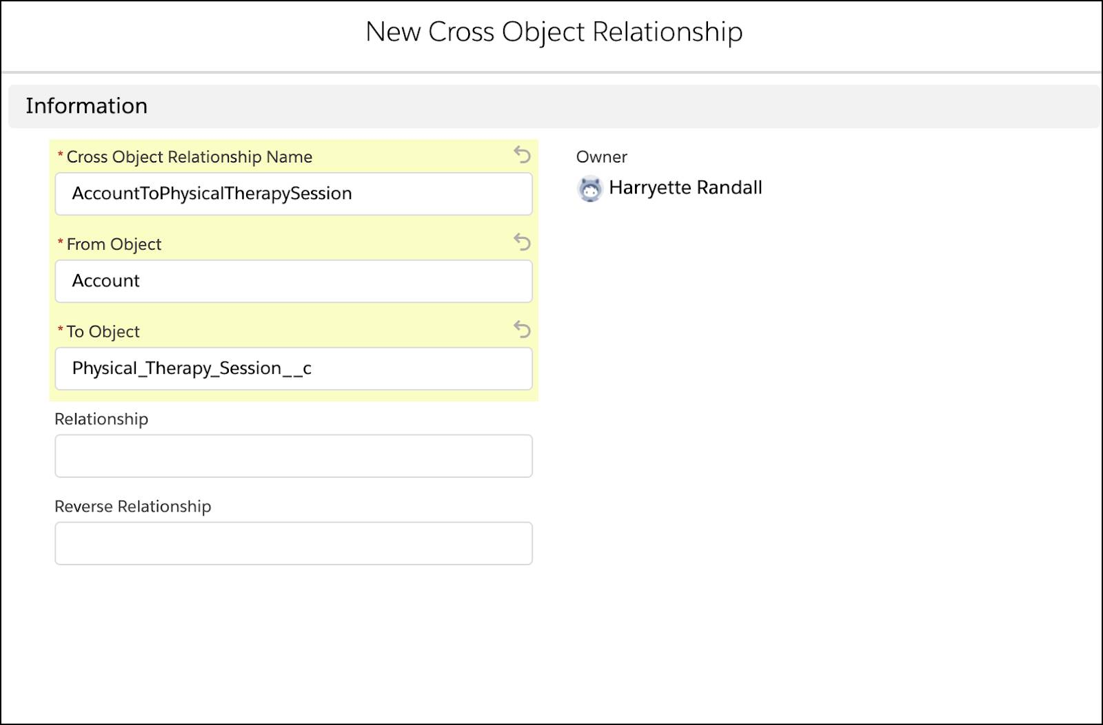 A new cross object relationship corresponding to the preceding steps