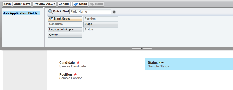 Page layout pane for the quick action after repositioning Status