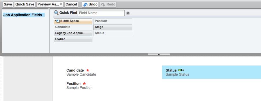[Status (状況)] を配置後のクイックアクションの [Page layout (ページレイアウト)] ペイン