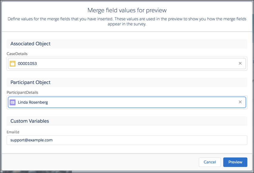 Preview modal with an associated Case record and a Contact record selected.