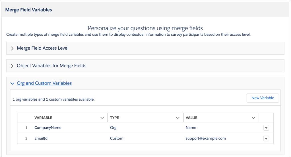Merge field variables.